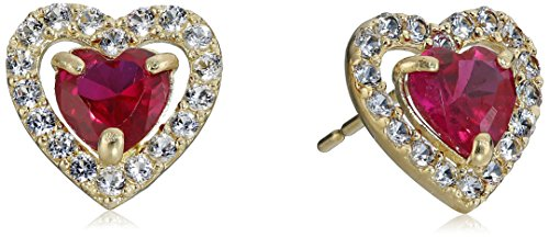 10K Yellow Gold Created Ruby Heart with Created White Sapphire Earrings 10k Yellow Gold Created Ruby