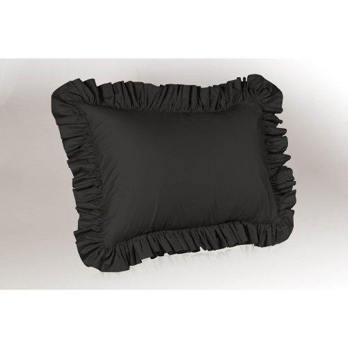 Harmony Lane Ruffled Pillow Sham, Standard Size, Black Black Standard Sham
