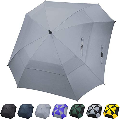 G4Free Extra Large Golf Umbrella Double Canopy Vented Square Umbrella Windproof Automatic Open 62 Inch Oversize Stick Umbrella for Men Women (Grey)