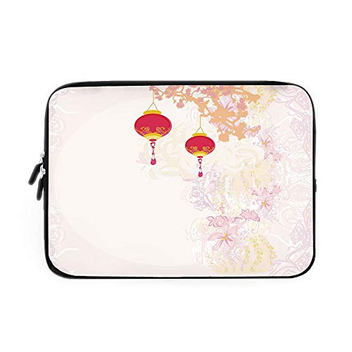 Lantern Laptop Sleeve Bag,Neoprene Sleeve Case/Abstract Image Depicting Chinese New Year Old Paper Celebration Lively Colors/for Apple MacBook Air Samsung Google Acer HP DELL Lenovo AsusPink -