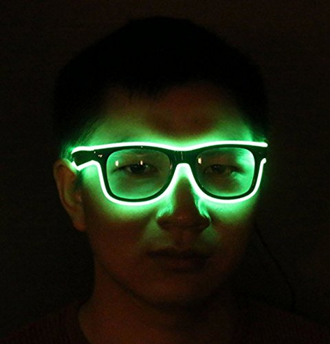 Amastore EL Wire Glow Sunglasses LED Light Up LED Flashing Glasses (Green) (Las Hour Glasses 1 Vegas)