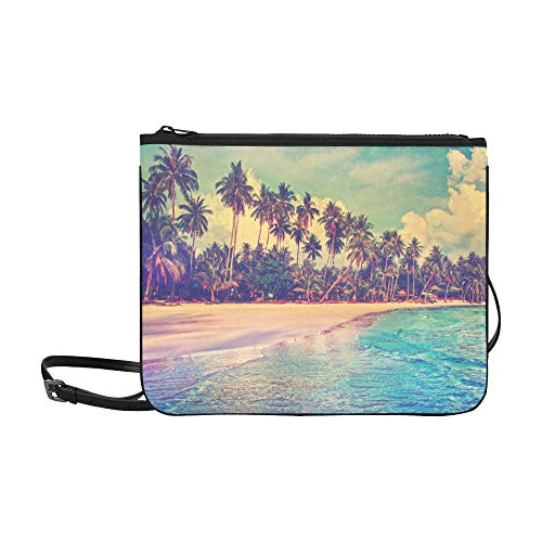 Paradise Nature Sea And Hotel House On The Tropic Pattern Custom High-grade Nylon Slim Clutch Bag Cross-body Bag Shoulder Bag