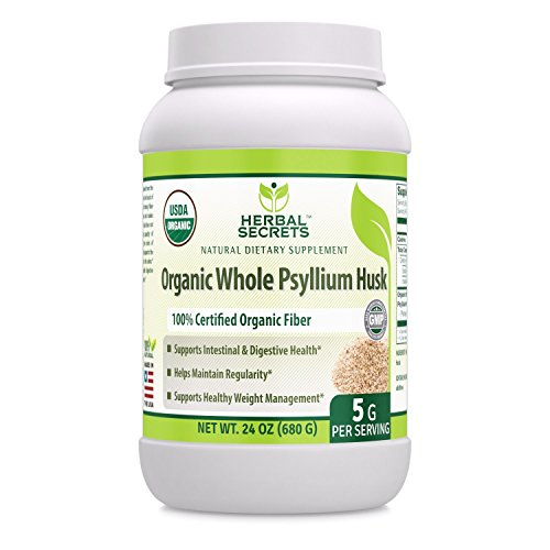 UPC 819209020777, Herbal Secrets USDA Certified Organic Whole Psyllium Husk 5 Grams 24 Oz - Raw Vegan NON-GMO Kosher