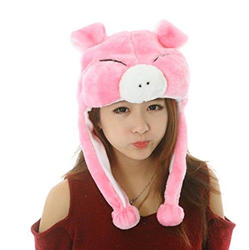 Sevenpring Chic Design Cute Cartoon Performance Headwear Plush Animal Headgear (Pink Blinking Pig) by Sevenpring