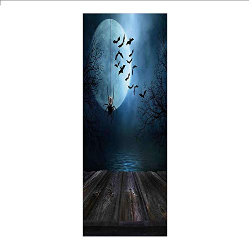 3D Decorative Film Privacy Window Film No Glue,Halloween Decorations,Misty Lake Scene Rusty Wooden Deck Spider Eyeball and Bats Moonlight,Blue Brown,for Home&Office -