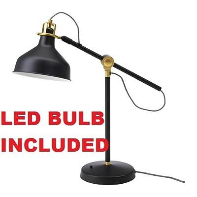 Ikea Table Lamp Work Reading (LED Bulb Included) Adjustable Black Ranarp