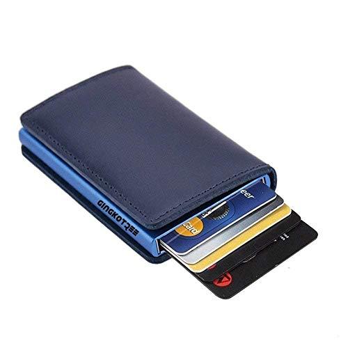 07ca9a8ceca5e GingkoTree Credit Card Holder RFID Blocking Wallet Slim Wallet Cowhide  Leather Vintage Aluminum Business Card Holder