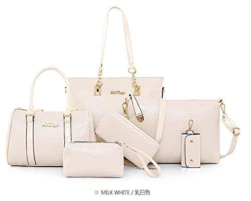 HLMHHL - Bolso de Hombro para Mujer, 6 Piezas, Diseño Oblicuo, Negro Rice white