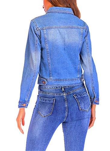 Cute Outerwear Bavero Giubbino Autunno Manica Corto Vintage Eleganti Slim Fit Cappotto Fashion Denim Giacche Giaccone Dunkelblau Chic Casual Donna Primaverile Lunga Jeans RFxwqAp6