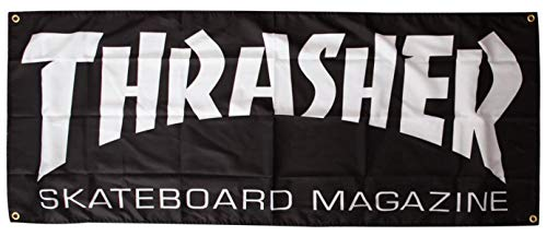 Thrasher Magazine Skate Mag Logo Cloth Banner - Black - 58
