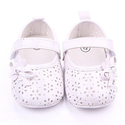 etrack-online bebé niña Prewalker Mary Jane lazo goma suave soled zapatos de antideslizante negro negro Talla:6-12 meses blanco