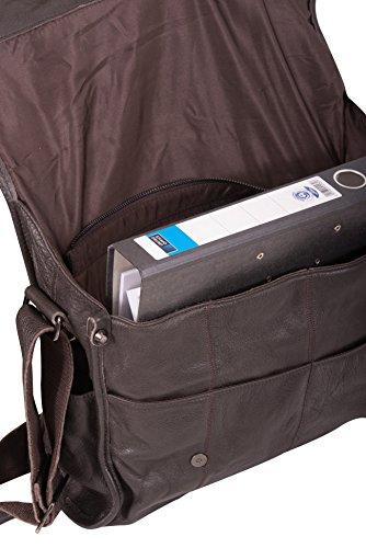 Unisex Messenger, sacchetto del computer portatile, cartelle, borsa a tracolla XXL, vera pelle mod 4003