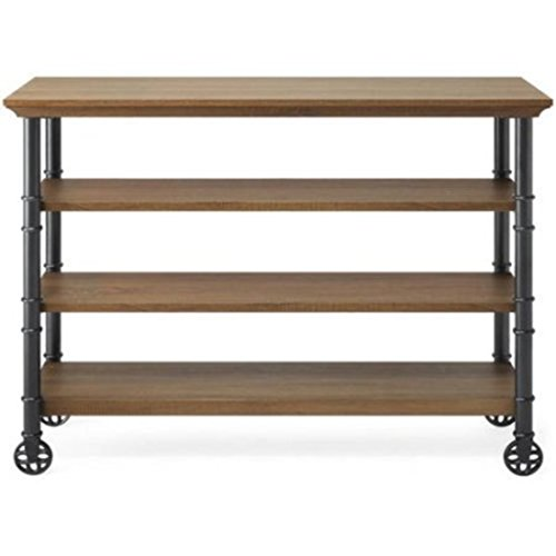 Brown Kitchen Cart With Reversible Wine Rack Shelf Feature