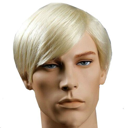 New Handsome Short Straight Men Wig Golden Blonde Color Halloween Party Hair Wig