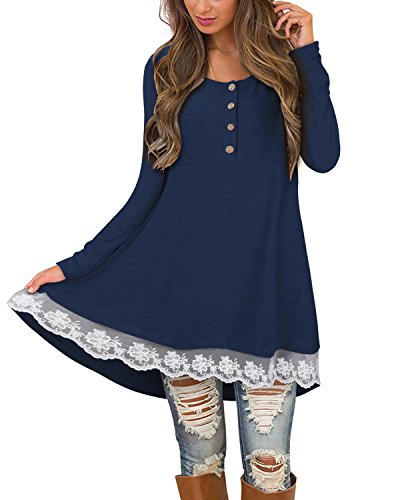 STYLEWORD Women's Long Sleeve Lace Casual Tunic Dress for Leggings(Blue,XXL) (Ruffle Bottom Tunic)