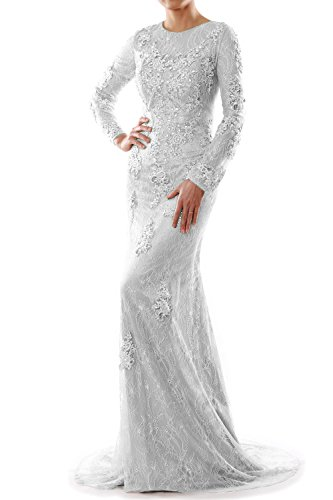 MACloth Women Mermaid Long Sleeve Lace Evening Formal Gown Wedding Party Dress Marfil