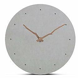 FlorLife Modern Nordic Wooden Wall Clock, Analog Quartz Movement, MDF Wood Hanging Round Clock Mute Creative Quartz Clock Living Room Home Decoration