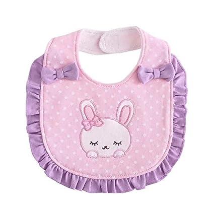 Bordados toalla bebé babero delantal Baba gato y conejo 2pcs