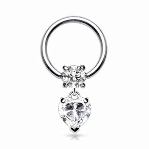 Clear Gem Heart Dangle 316L Surgical Steel Gemmed Freedom Fashion Captive Bead Ring (Gauge Dangle 16 Gem)