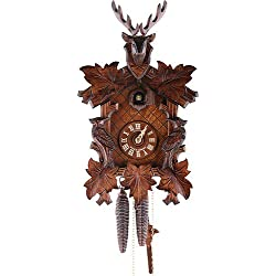 German Cuckoo Clock 1-day-movement Carved-Style 14.00 inch - Authentic black forest cuckoo clock by Anton Schneider