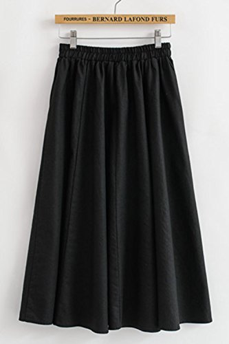 Asher-Womens-Artistic-Casual-Fitted-Elastic-Waist-Cotton-Linen-Solid-Skirt