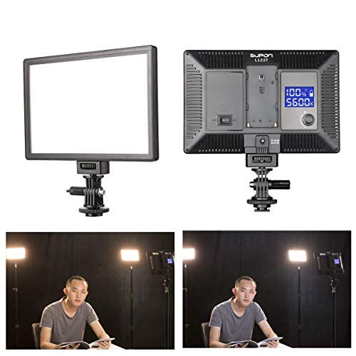 - SUPON LED-L122T RA CRI95 Super Slim LCD Display Lighting Panel,Portable Dimmable 3300K-5600K LED Video Light Compatible for Canon,Nikon,Pentax,Fuji,Sony,Olympus DSLR Cameras,DV Camcorder
