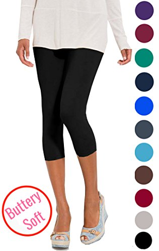 Lush Moda Extra Soft Capri Leggings - Variety of Colors - Black