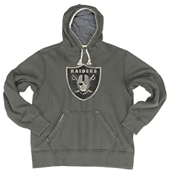 NFL Men's Oakland Raiders Bigger Better Logo Pull Over Hoodie (Storm, Small)