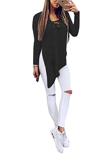 New Fall Stylish Lace-Up Top with Full Sleeves, Sexy Black Tees for Halloween L