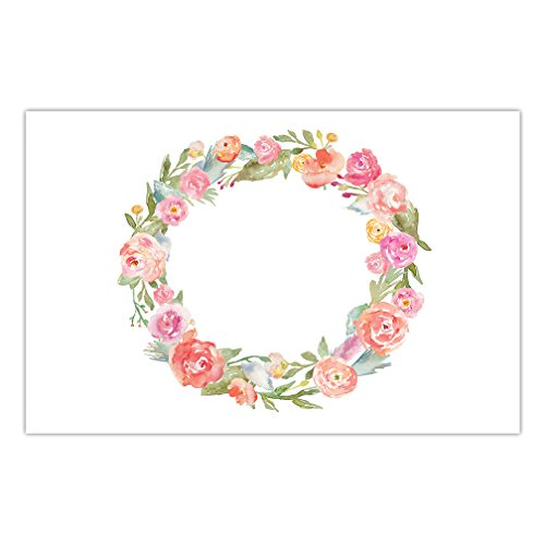 (Watercolor Floral Wreath Paper Place Mats 25 Pack Bridal Shower Engagement Wedding Reception Milestone Birthday Parties Easy Cleanup Disposable Guest Table Setting 17