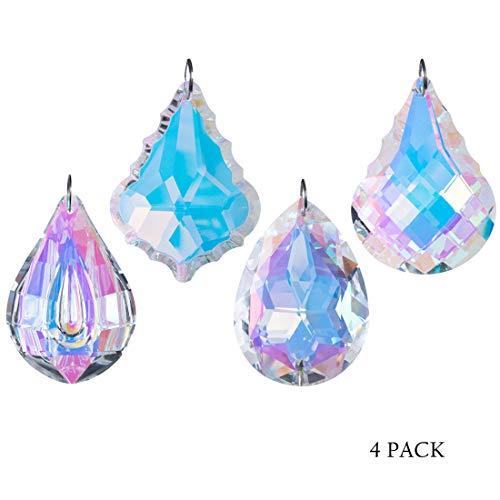 H&D HYALINE & DORA Colorful Crystal Chandelier Crystals Hanging Lamp Prisms Sun Catcher 76mm,Pack of 4