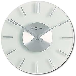 Nextime Reloj de Pared Stripe silencioso, de Vidrio y Acero Inoxidable, Redondo, ø 26 cm