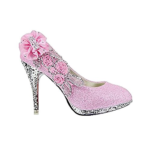 Odomolor Women's Cone-Shape Heel Open Toe Sequins Solid Pumps Shoes with Flowers Pink OHwic