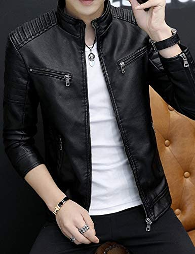 HUPOO Mens Casual Stand Collar Pleats Outerwewar Moto Biker PU Faux Leather Jackets