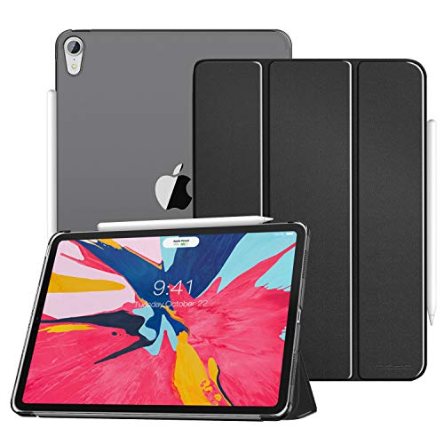 MoKo Case Fit iPad Pro 11 2018 - Translucent Frosted Back Protector Smart Shell Stand Cover with Apple Pencils Magnetic Attachment Side Opening Fit iPad Pro 11 Inch 2018 - Black (Auto Wake/Sleep)