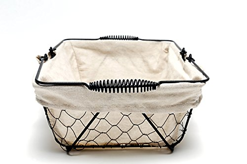 Mkono Vintage Bread Basket Black Wire Food Serving Basket with Removable Liner for Picnic Coffee Kitchen by Mkono (Image #2)