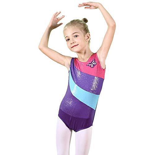 BAOHULU-Gymnastics-Leotard-for-Toddler-Girls-Sparkle-Metallic-Black-Purple-Athletic-Dance-Clothes