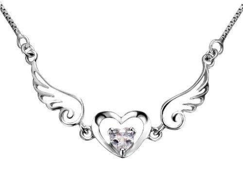 Dazzle Flash love Wing of Angel bling zirconia CZ diamond heart collarbone pendant necklace - nss037