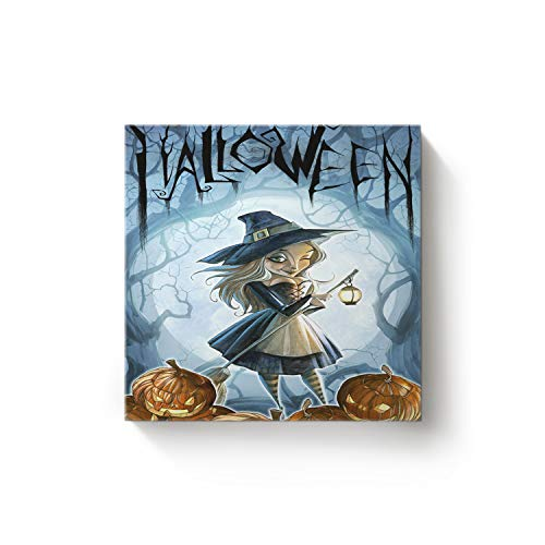 16 x 16 Inch Square Canvas Wall Art Oil Painting Office Home Decor for Living Room Bedroom Kitchen,Horror Halloween Witch Pumpkin Moon Light Design Artworks,Stretched by Wooden Frame,Ready to -