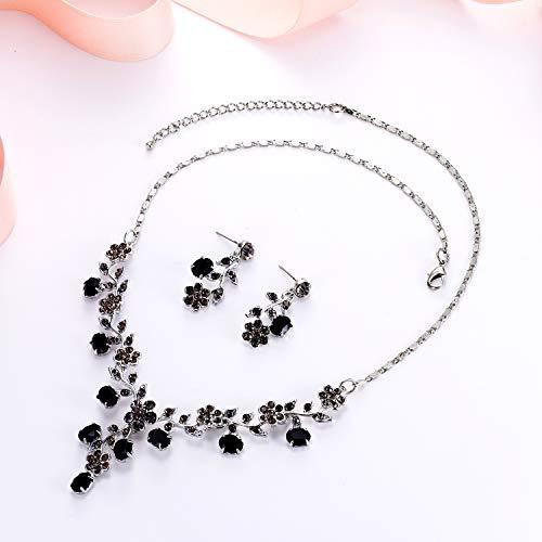 EVER FAITH Flower Leaf Necklace Earrings Set Austrian Crystal 3