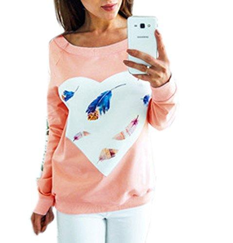 Shirts Sweat Coeur Femme Forme Hiver Tops Shirt Sweats Automne Blouse JackenLOVE Imprim Chemisiers en Rose de T Manche Hauts Casual Longue 0qYSw