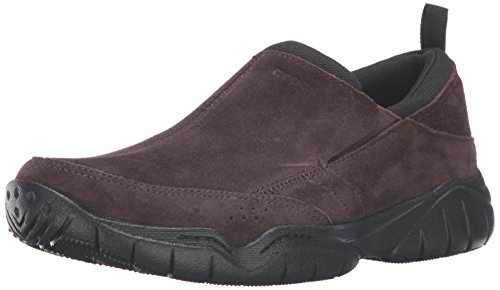 (Crocs Men's Swiftwater Leather Moc Flat, Espresso/Black, 11 M US)