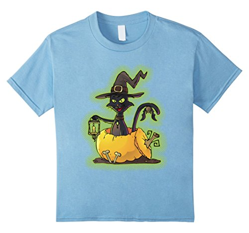 Kids Funny Proud Halloween Black Witch Cat Pumpkin Gifts T-shirts 10 Baby Blue
