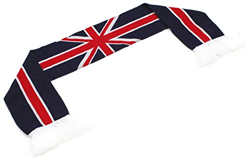"""High End Hats """"Official Nations of Europe Scarf Collection"""" Double Weave Head Scarf for Men or Women, Great Britain UK British Union Jack Flag, Red White Blue"""