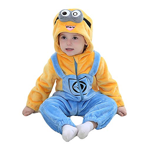 Unisex Baby Romper Winter and Autumn Flannel Jumpsuit Animal Cosplay Outfits(Minions,80cm-(6-12months))]()