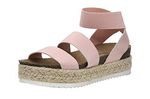 Pink Cork Wedge - Cushionaire Women's Mandy Cork Espadrille Wedge Sandal, Blush, 8.5 W
