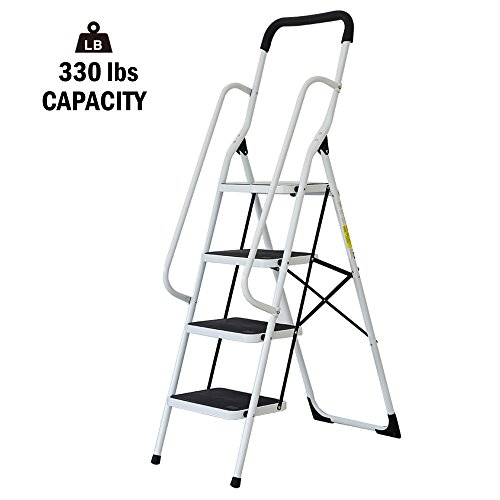Safety 4 Step Ladder - Lucky Tree Folding Step Ladder 4 Step Non-Slip Safety Step Stool with Side Handrails and Large Pedal kitchen and Home Stepladder, 330 lbs Capacity