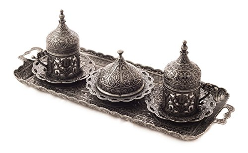 MisterCopper New Premium Turkish Greek Arabic Coffee Espresso Serving Set for 2,Cups Saucers Lids Tray Delight Sugar Dish 11pc (Antique Silver) (Tray Serving Turkish)