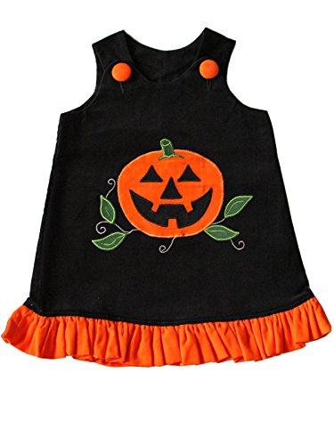 Jack-O-Lantern Baby Girls Halloween A Line Appliqué Sleeveless Dress ()