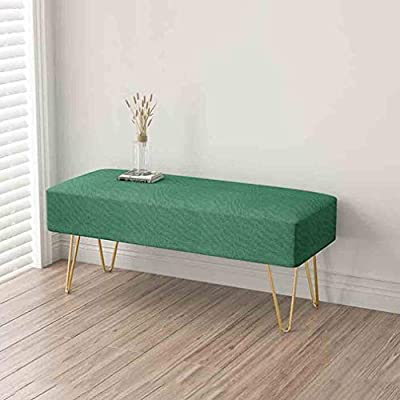 80cm L x 45cm W x 42cm H Modern Contemporary Ottoman//Bench Faux Fur Long Bed End Stool Sofa Stool Foot Rest Stool//Seat with Gold Metal Legs Color : White